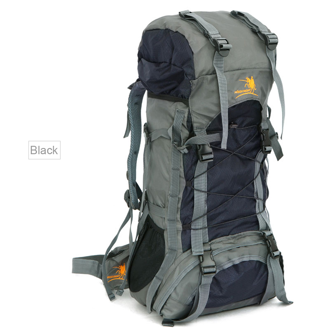 Free Knight FK008 60L Nylon Water Resistant Backpack Rucksack for  Mountaineering Camping Hiking Traveling- Black 415be219a1165