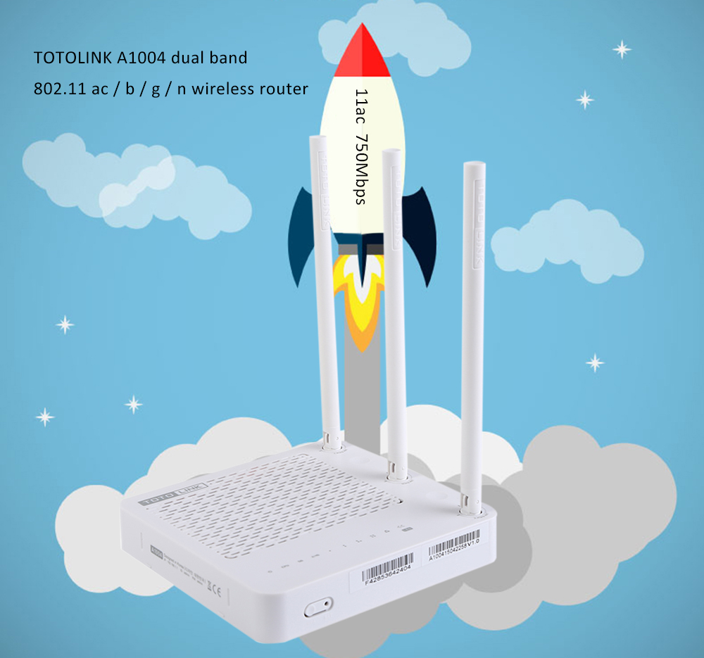 TOTOLINK A1004 AC 750Mbps Dual band 2.4GHz / 5GHz VPN Router