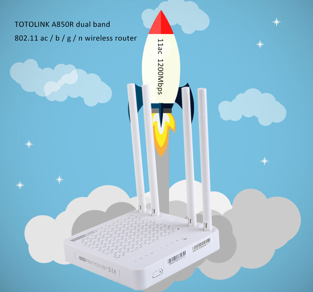 TOTOLINK A850R Smart Dual Band 1200M Four Antennas Wireless Router Repeater