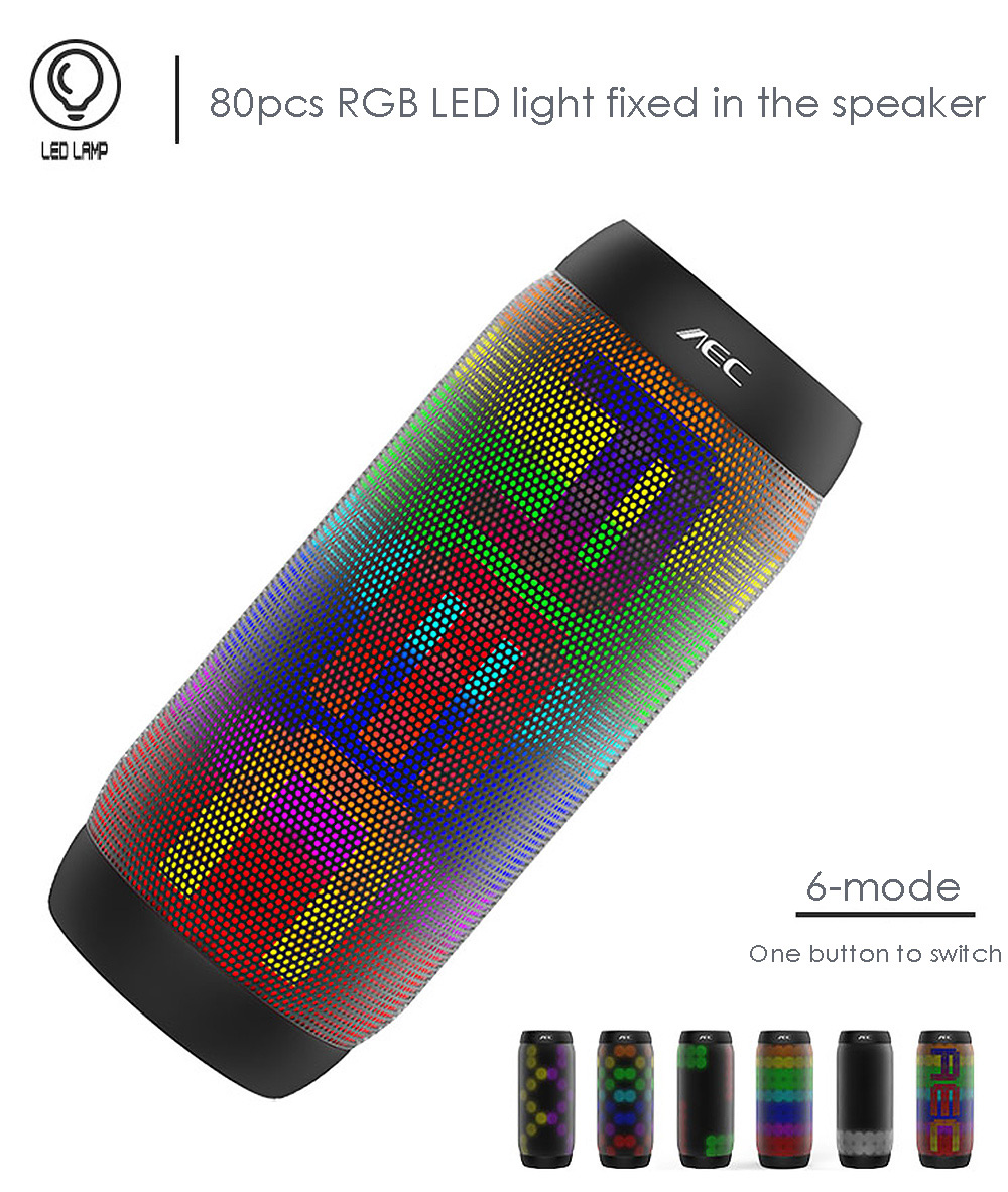 BQ - 615 PRO Magic Dancing Colorful LED Bluetooth V3.0 Speaker with Flashing Lights 3.5mm Audio Port Support NFC TF Card FM Radio