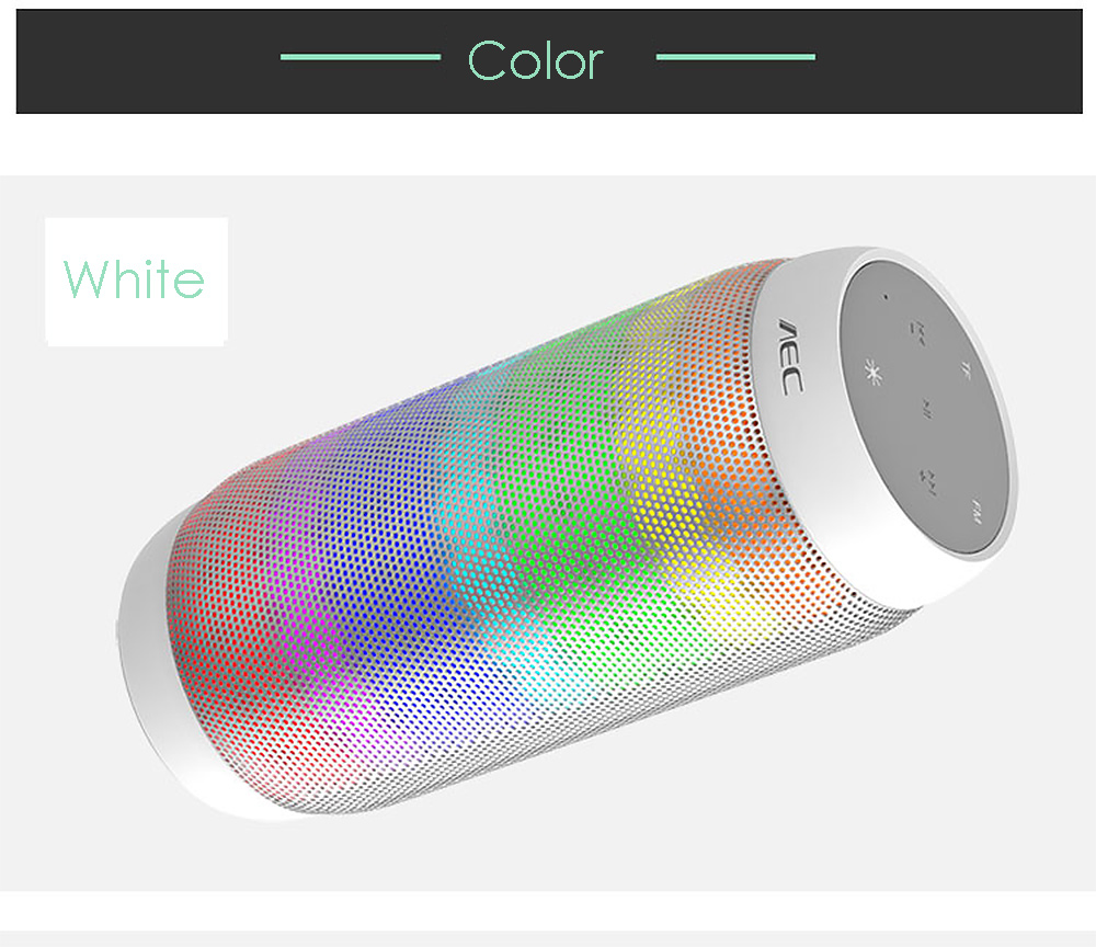AEC BQ - 615 PRO Magic Dancing Colorful LED Bluetooth V3.0 Speaker with Flashing Lights 3.5mm Audio Port Support NFC TF Card FM Radio- White