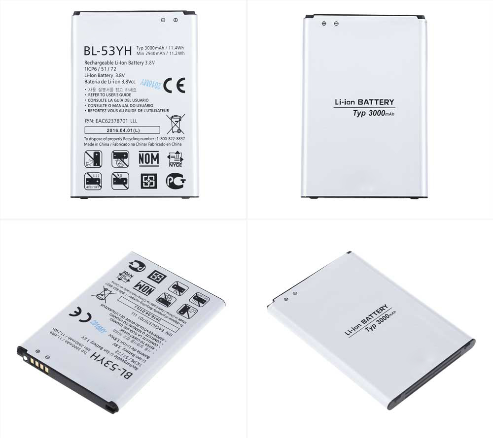 BL - 53YH 3000mAh Replacement Li-ion Battery for LG G3 F400 / F460 / D858 / D830 / VS985 / BL-53YH / BL53YH