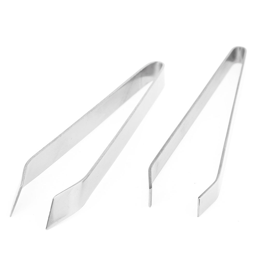 Stainless Steel Fish Bone Hair Removal Clip Nip Clamp Pincer Tweezers Tongs- Silver DIAGONAL