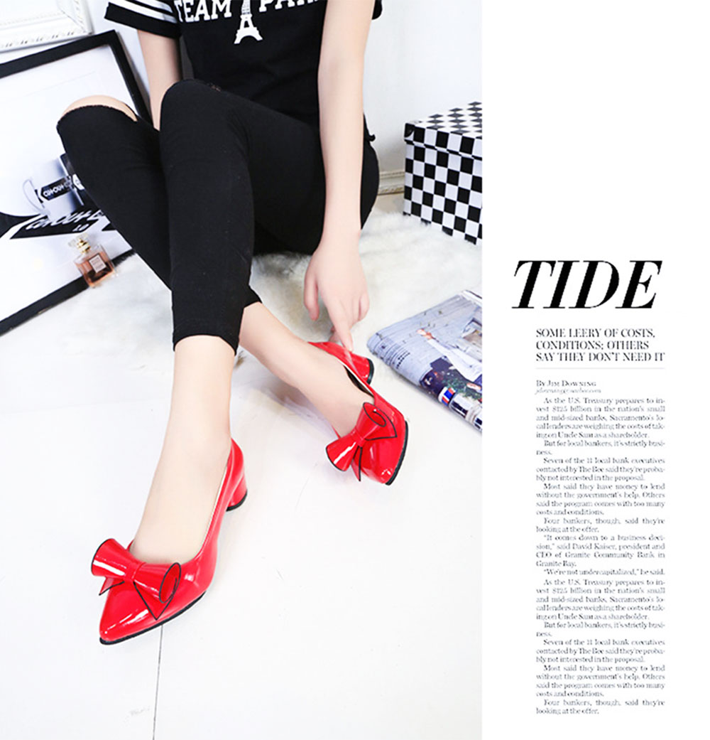 Stylish Pointed Toe Bowknot PU Leather Low Heel Shoes for Women