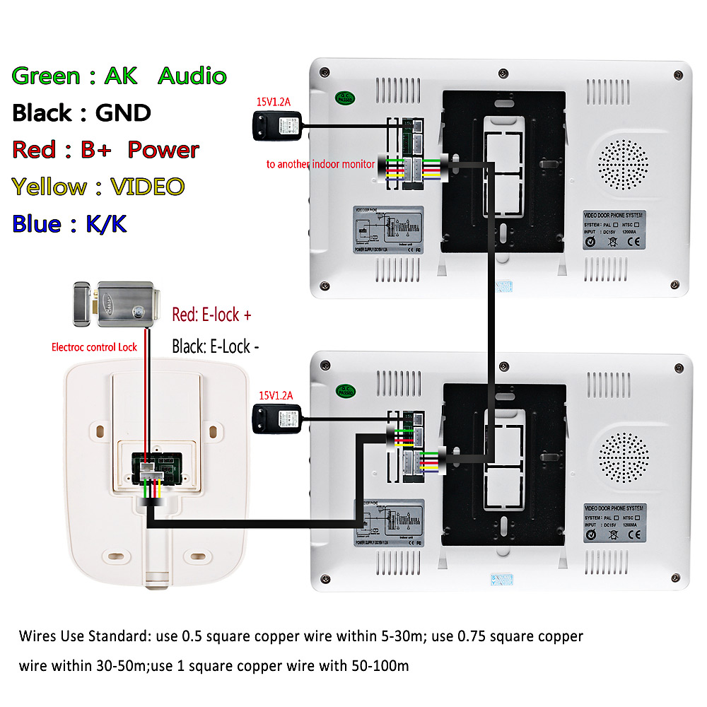 Sy812mkw11 Video Interphone 7 Inches Doorbell Intercom 9337 Free Memory Circuit Diagram Tft Screen Hands Silver White Us Plug