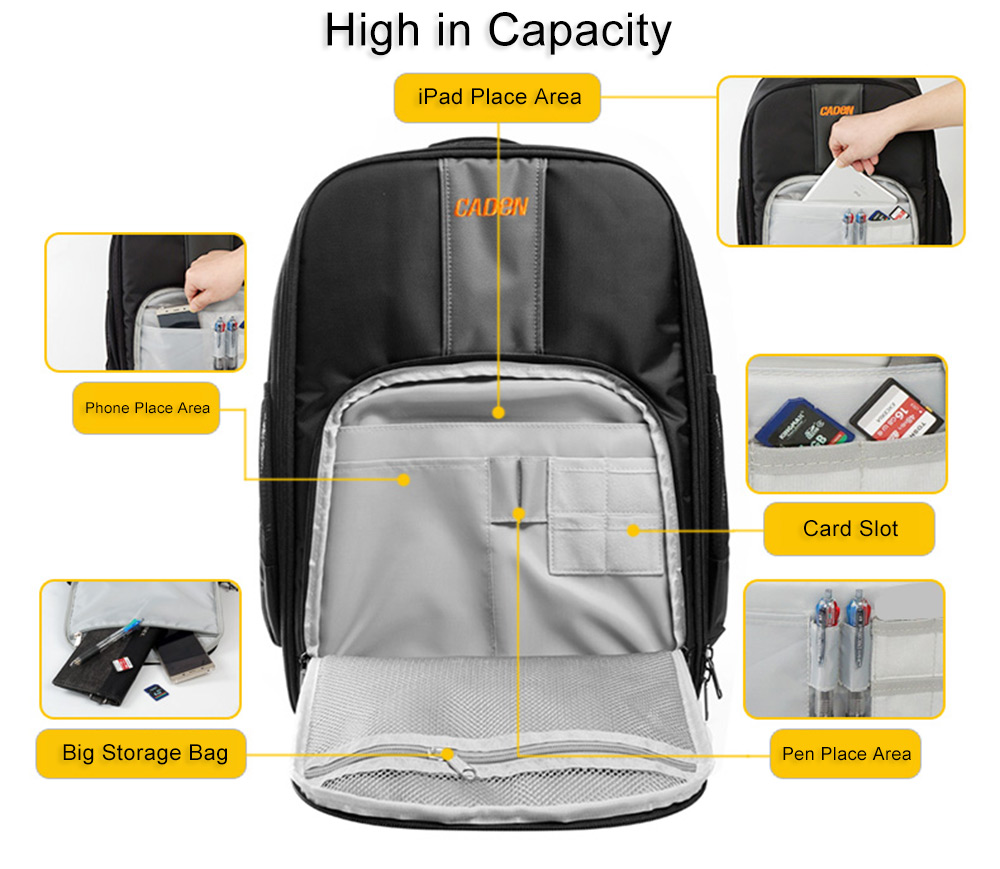 Caden W7 Nylon Knapsack Drone Bag Water Resistance Travel Carrying Case- Black