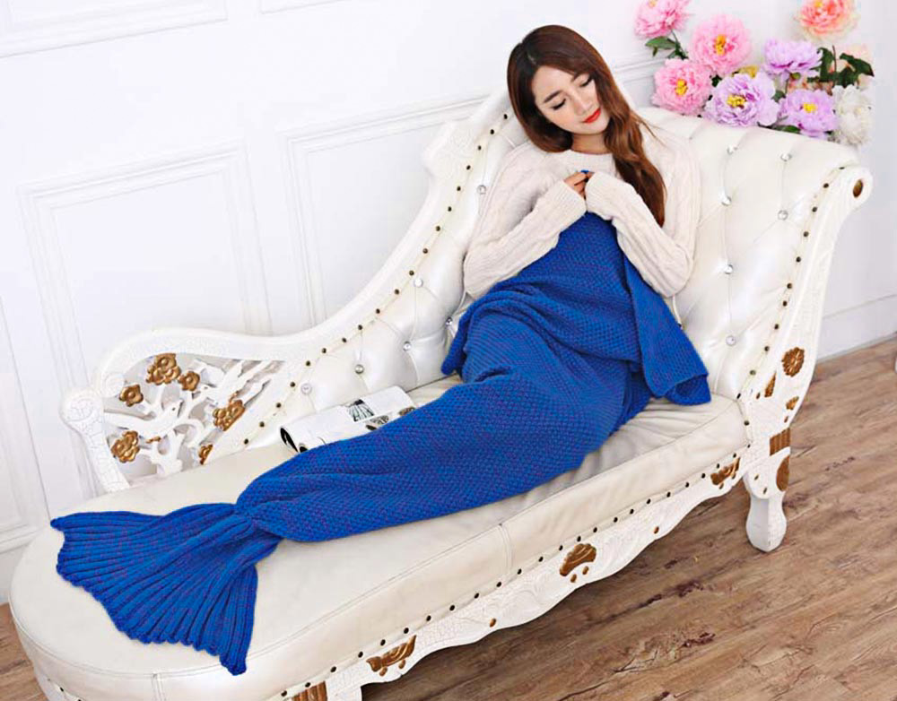 Fashion Adults Knitted Mermaid Tail Blanket Summer Quilt