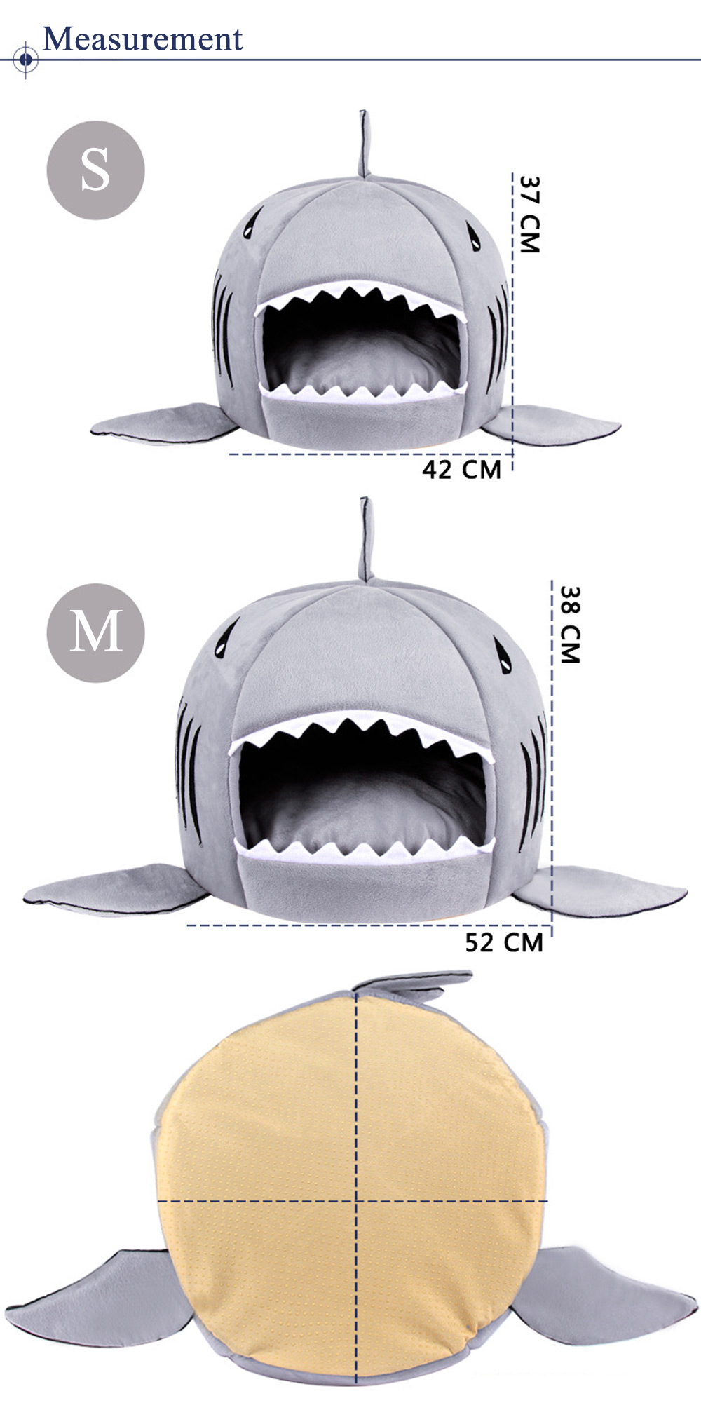 Lovely Soft Shark Mouth Shape Doghouse Pet Kennel with Cushion- Gray M
