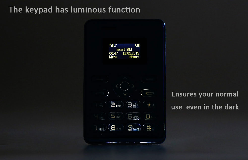 AIEK Q3 1.0 inch Card Phone Bluetooth FM MP3 Playback Audio Player Alarm Calculator