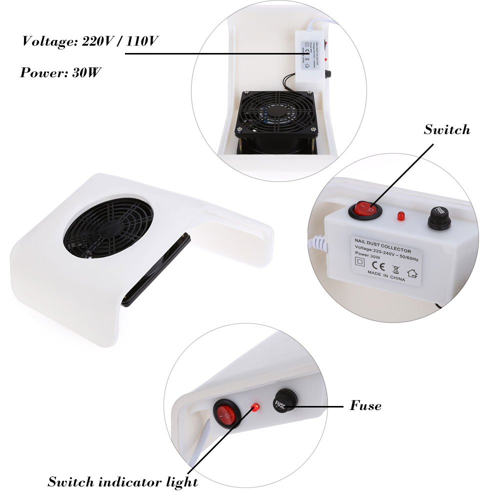 30W 220V / 110V Suction Nail Dust Collector Machine - $30.28 Free ...