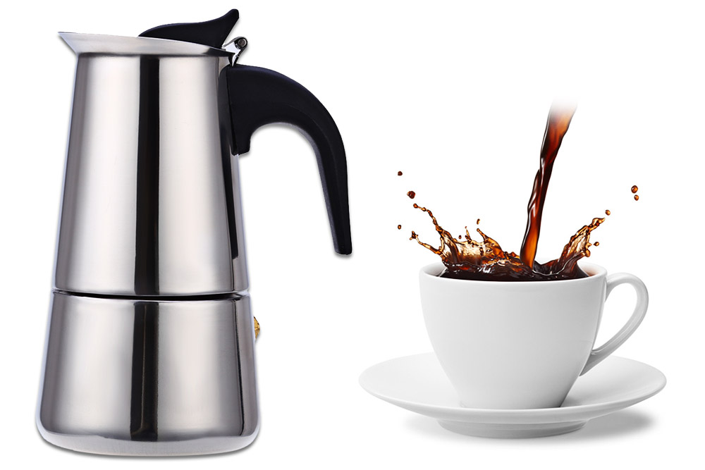 100ML 2-Cup Stainless Steel Mocha Espresso Latte Percolator Stove Coffee Maker Pot- Silver 100ML