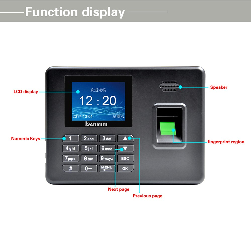 Danmini A3 Self-service Fingerprint Machine with Voice Prompt- Silver US Plug