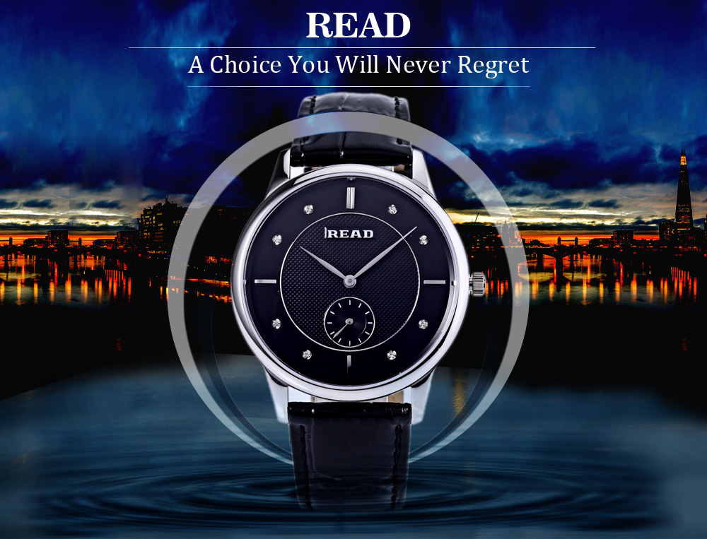 READ R6025G Male Quartz Watch Sapphire Mirror Working Sub-dial 3ATM Wristwatch