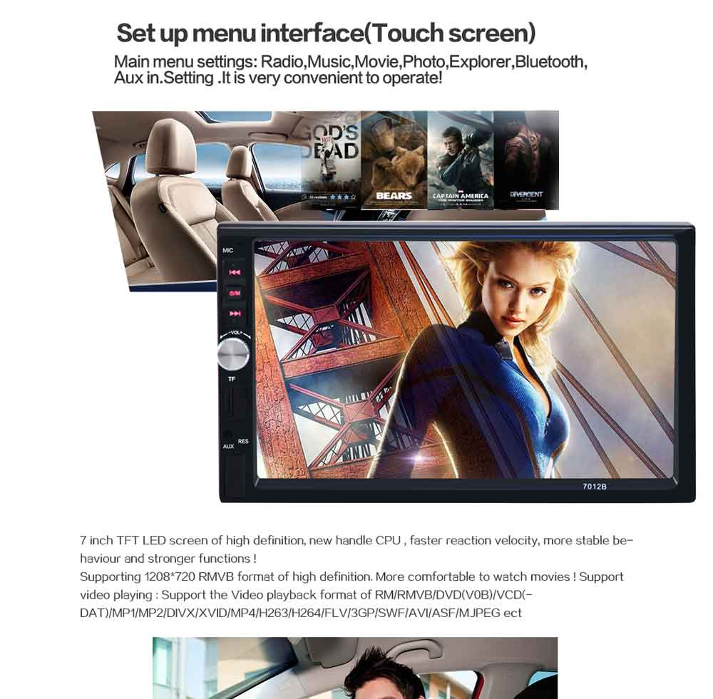 7012B 7 Inch Bluetooth V2.0 Car Audio Stereo MP5 Player 12V Auto Video Support AUX FM USB Remote Control