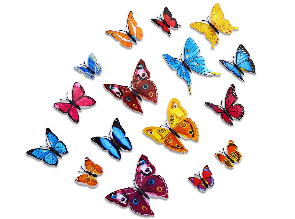 Vivid 3D Butterfly Wall Decors Stickers for Home Decoration 12pcs ...
