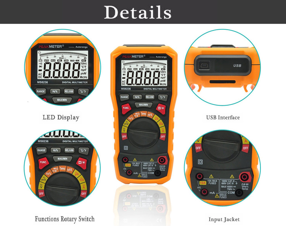 Peakmeter Pm8236 Digital Multimeter 4156 Free Shipping Temperature Probe For Multi Meter Package Contents 1 X Usb Cable 2 Test Line Pair Cd Driver Multifunction Socket Soft Bag