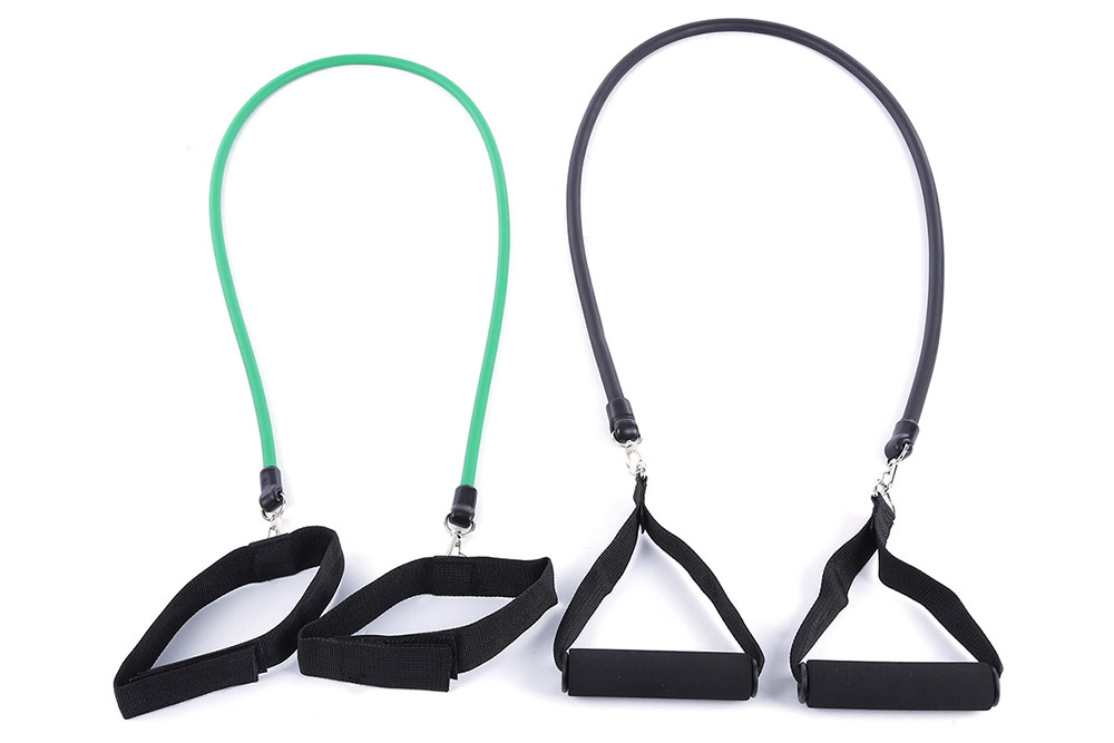 11pcs / Set Natural Tube Exercise Stretched Bands Elastic Training Pull Rope Yoga Pilate Workout Cordage- Multi-A