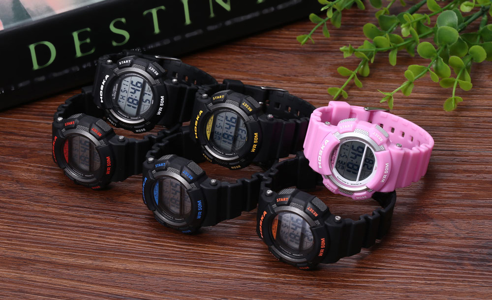 HOSKA H007S LED Digital Children Sport Watch Chronograph Calendar Alarm Backlight 5ATM Wristwatch
