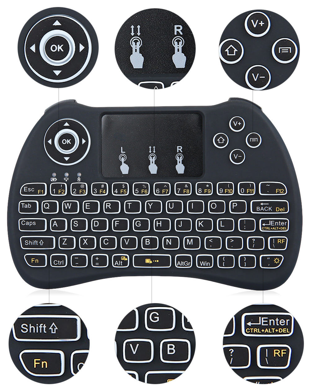 H9 Mini Hand Held Wireless Qwerty Keyboard With Backlight 1132 Usb Package Contents 1 X Cable Receiver