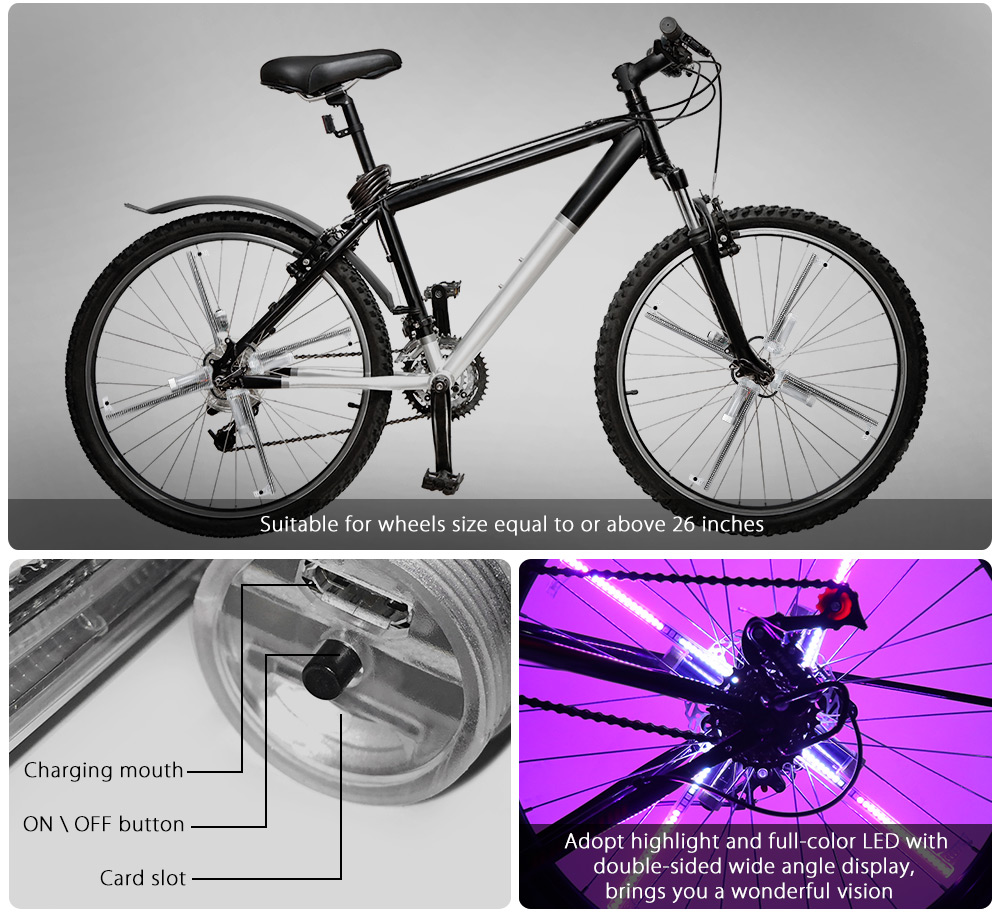 FT - 801 Pro DIY Cycling Bicycle 416 LEDs Waterproof Colorful Changing Video Gift Pictures Bike