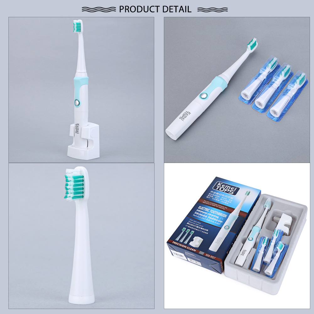 KM - 907 Waterproof Rechargeable Electric Toothbrush with 3 Heads Oral Hygiene Dental Care for Kids Adults- Blue Chinese Plug