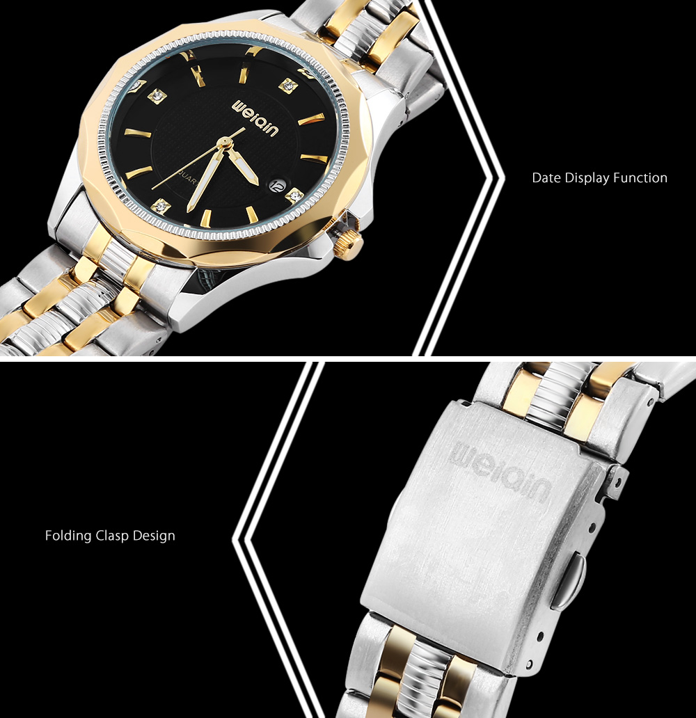WEIQIN W00106 Couple Quartz Watch Stereo Glass Mirror Date Display Wristwatch