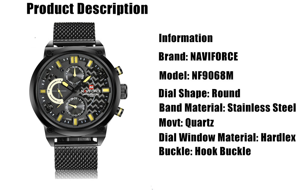 NAVIFORCE NF9068M Male Quartz Watch 3ATM Calendar Stainless Steel Mesh Band Wristwatch- Gray
