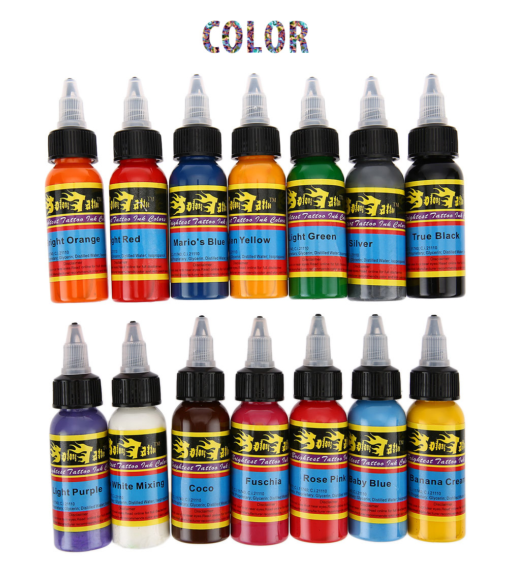Tattoo Ink Colors >> Solong 30ml Bottle 14 Colors Tattoo Ink Fast Pigment Set Gearbest