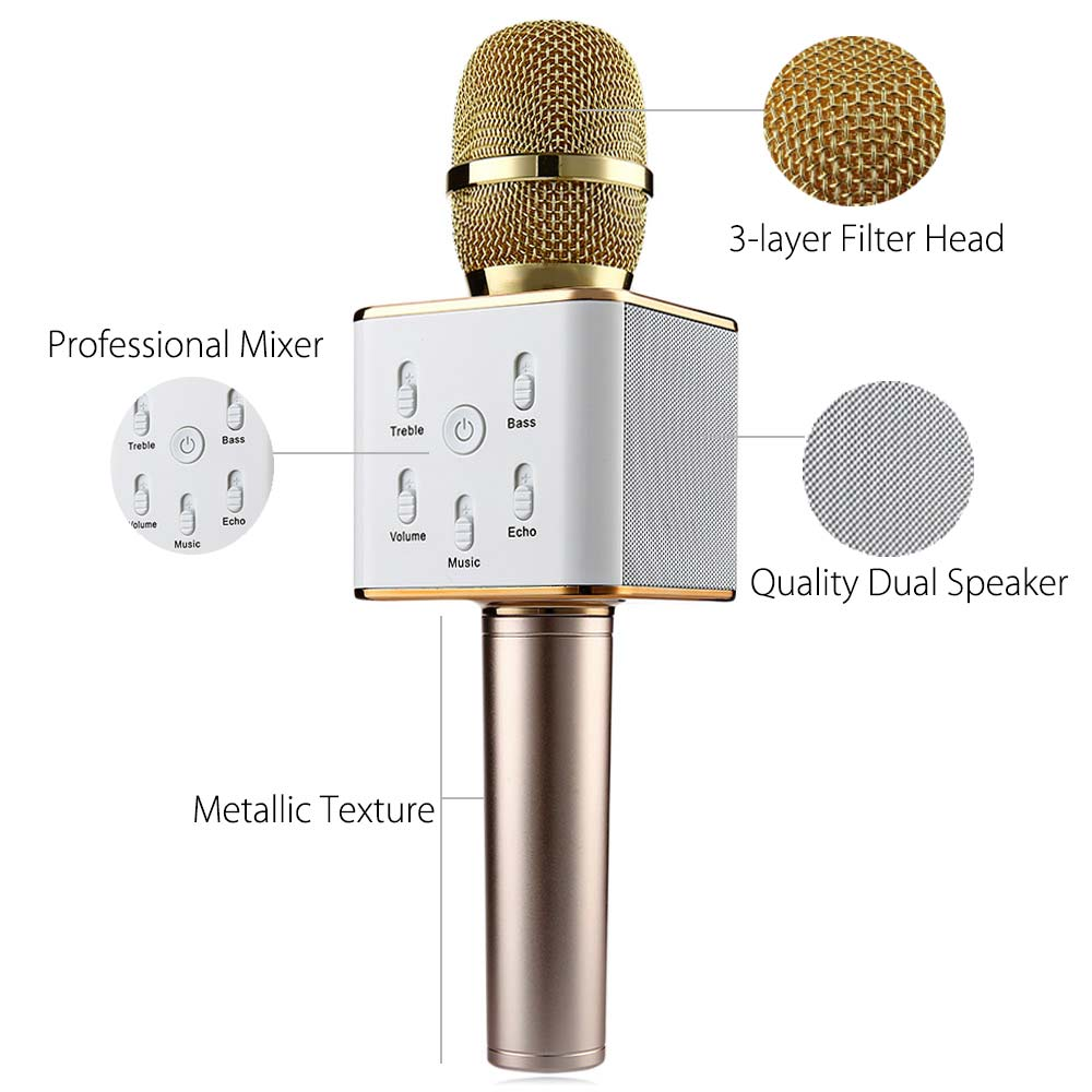 TUXUN Q7 Wireless Bluetooth Speaker Microphone- Golden