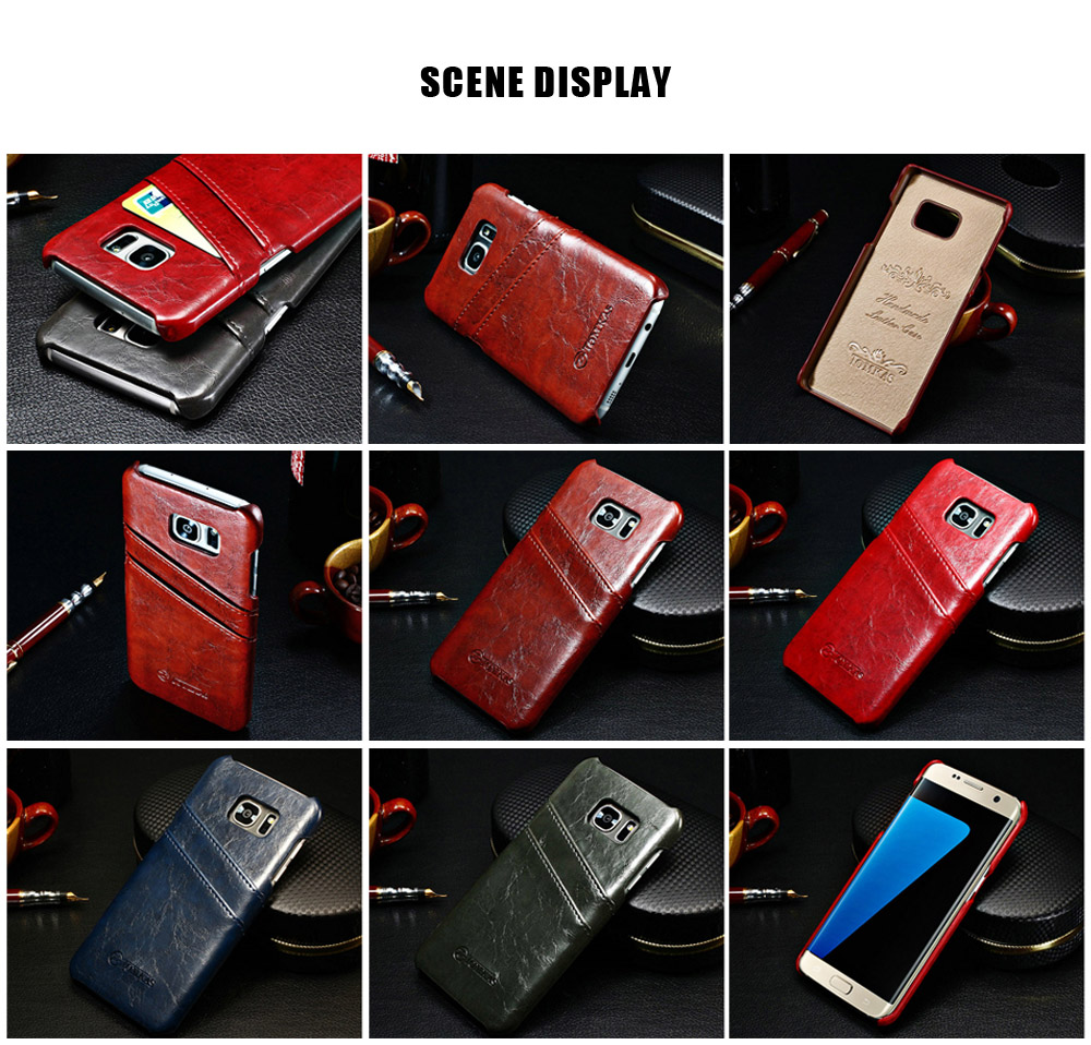 Tomkas Oil Wax PU Leather Back Case Card Slot Design for Samsung S7 Edge