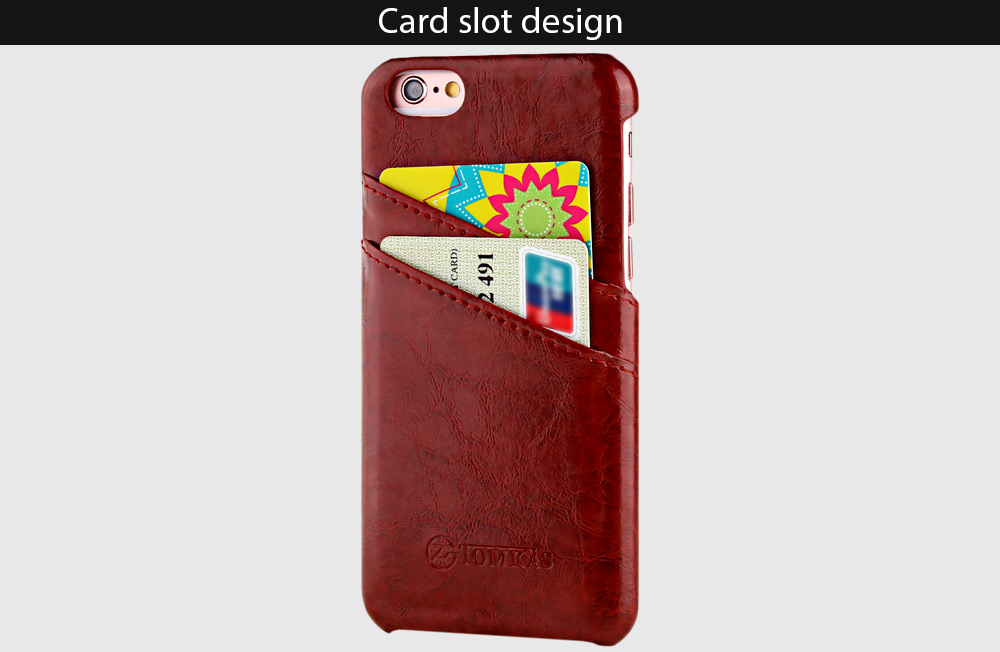 TOMKAS Oil Wax PU Leather Back Cover with Card Holder Function for iPhone 6 / 6S