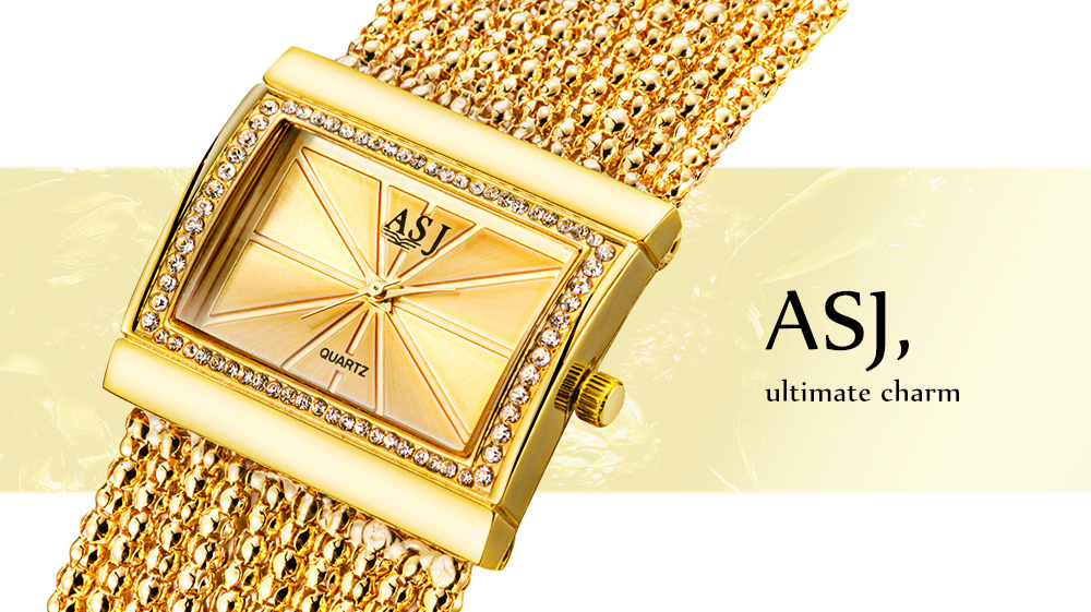 ASJ B116 Female Quartz Watch Twining Chain Band Rectangle Dial Bracelet Wristwatch