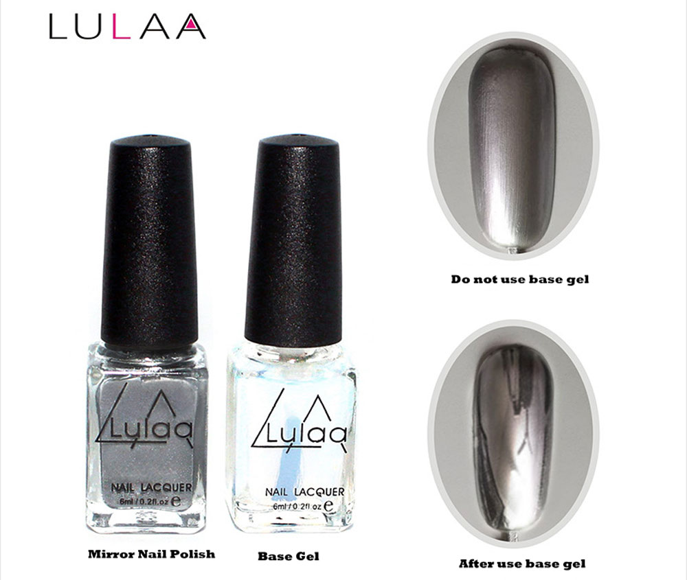 LULAA 2pcs Silver Mirror Effect Metal Nail Polish Varnish Top Coat ...