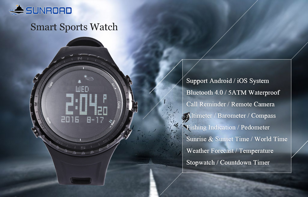 SUNROAD FR803 Sports Smart Watch Altimeter Barometer Pedometer Compass Wristwatch- Black