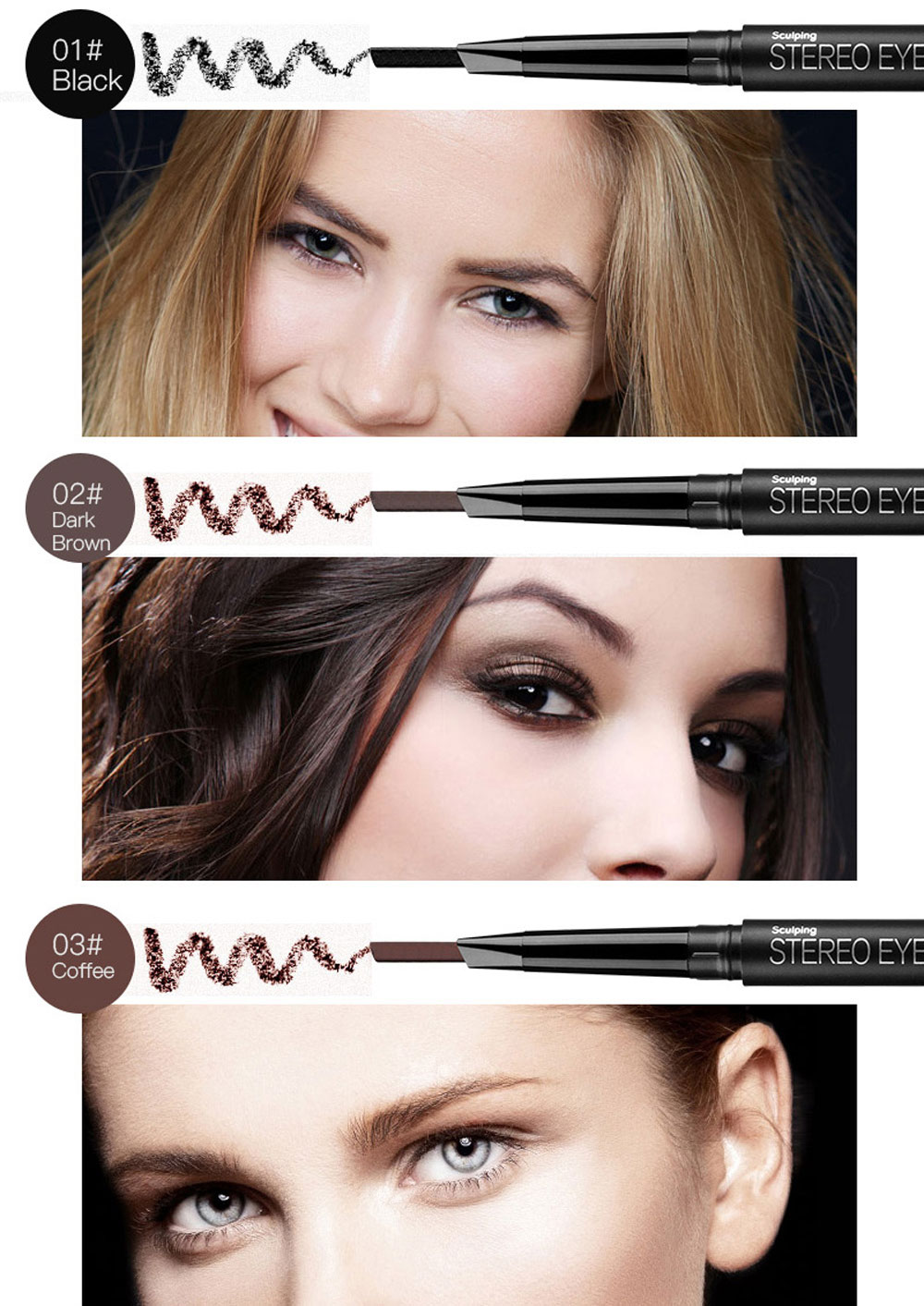 Magical Halo Double Head Automatic Long Lasting Eyebrow Pencil