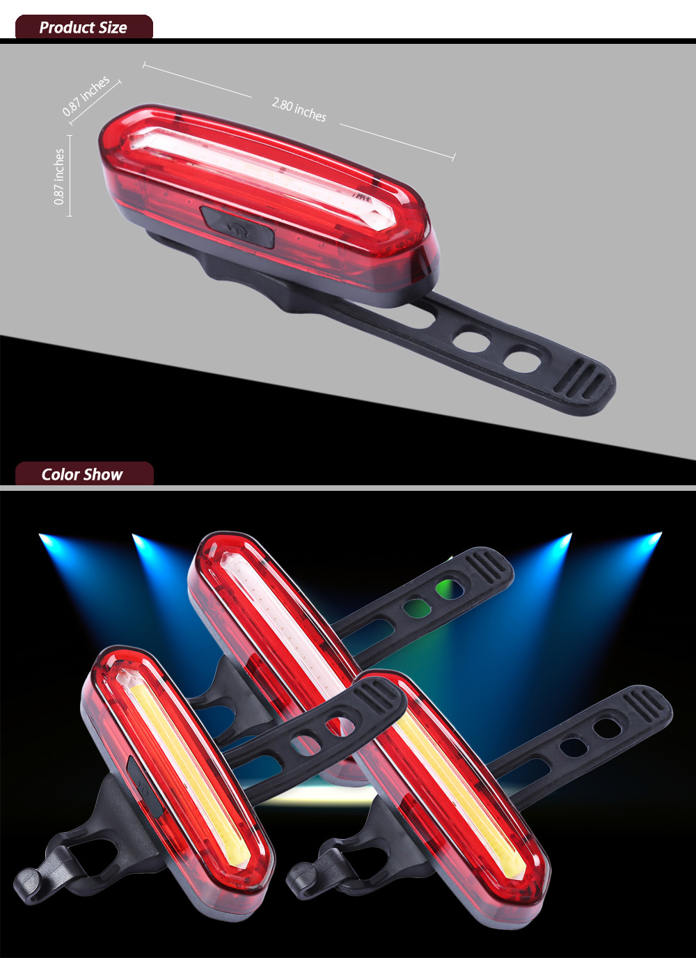 Rechargeable Bicycle Dual Color Flashlight Tail Light RED LIGHT ...
