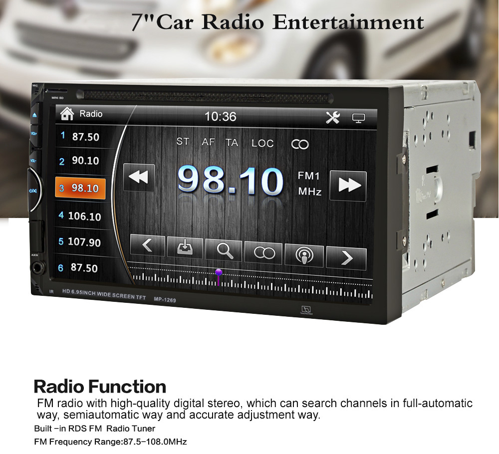 1269 7 inch Bluetooth V3.0 Auto Radio Double Din 32GB Car DVD Player In-dash Stereo Video Mic
