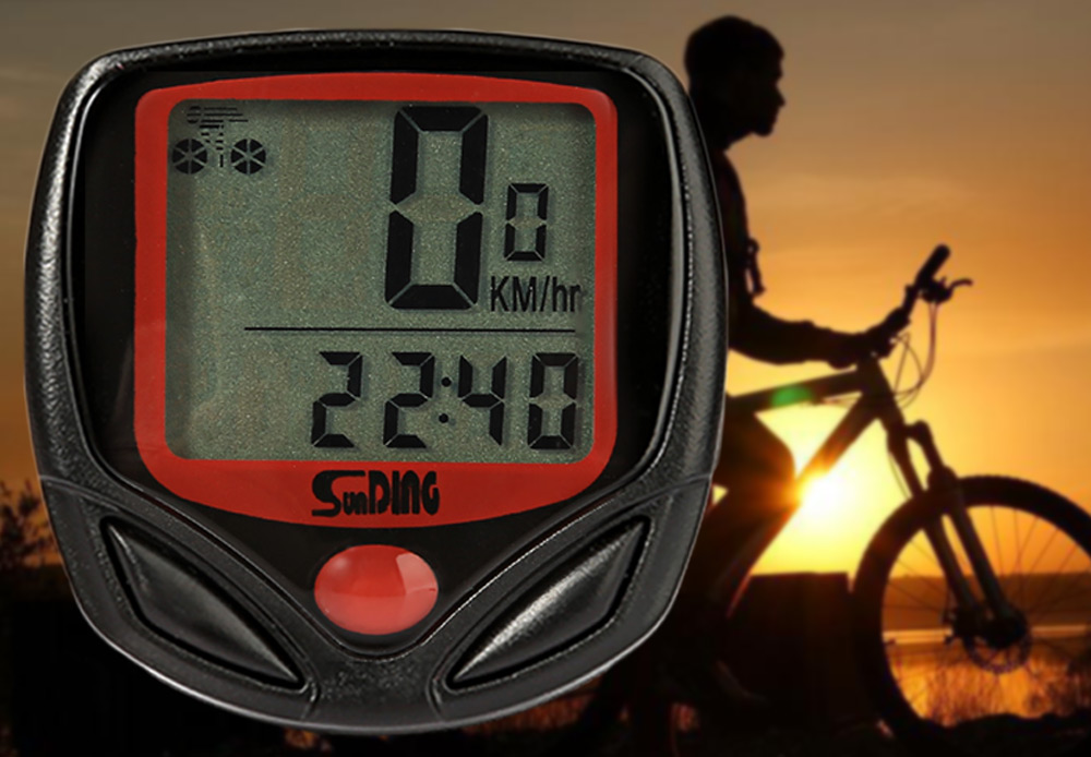 SunDing SD - 548B Leisure Bicycle Computer Water Resistant Cycling Odometer Speedometer- Red with Black