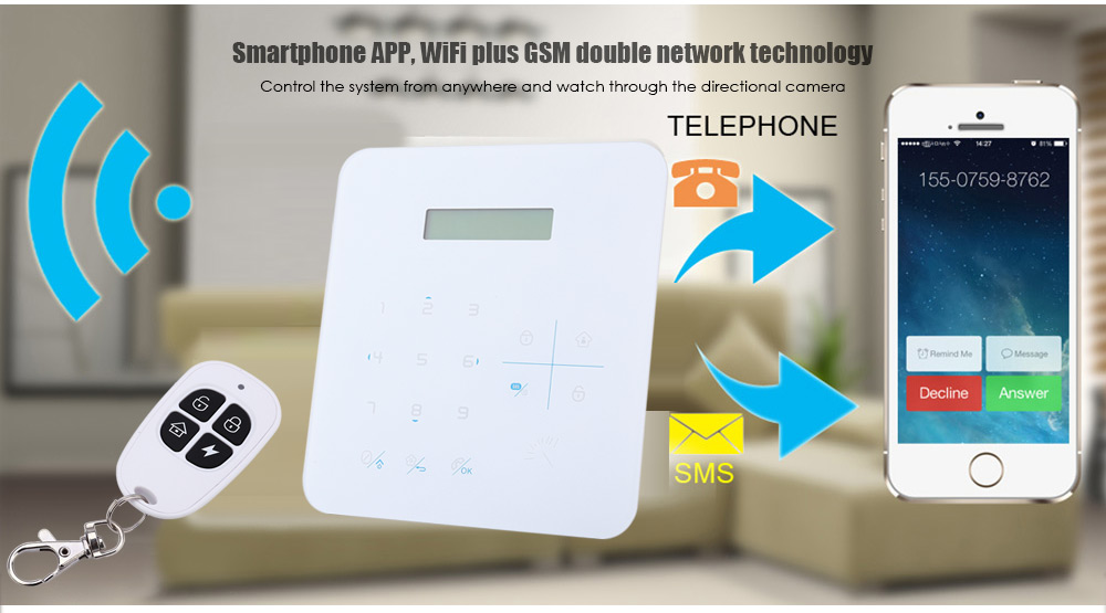 DP - K9G LCD Wireless GSM WiFi Security Alarm System for Home House Office