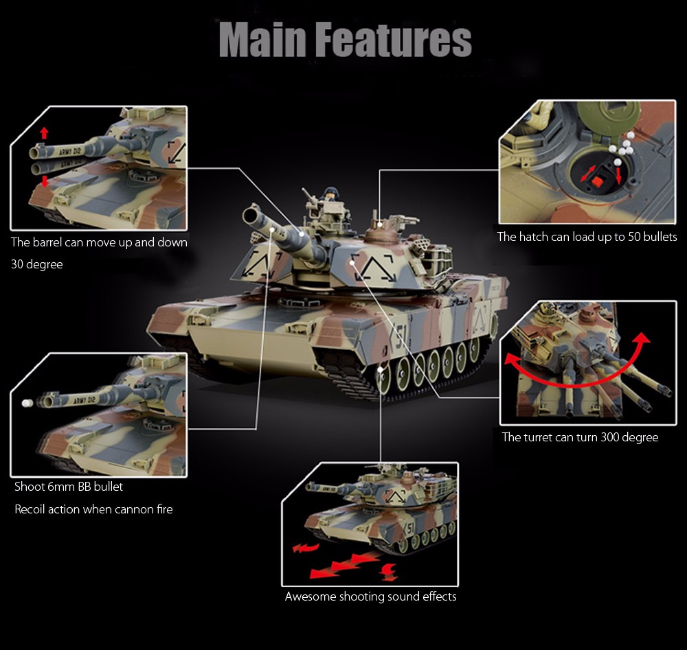 HUANQI 781 - 10 M1A2 27MHz Simulation Infrared RC Battle Tank