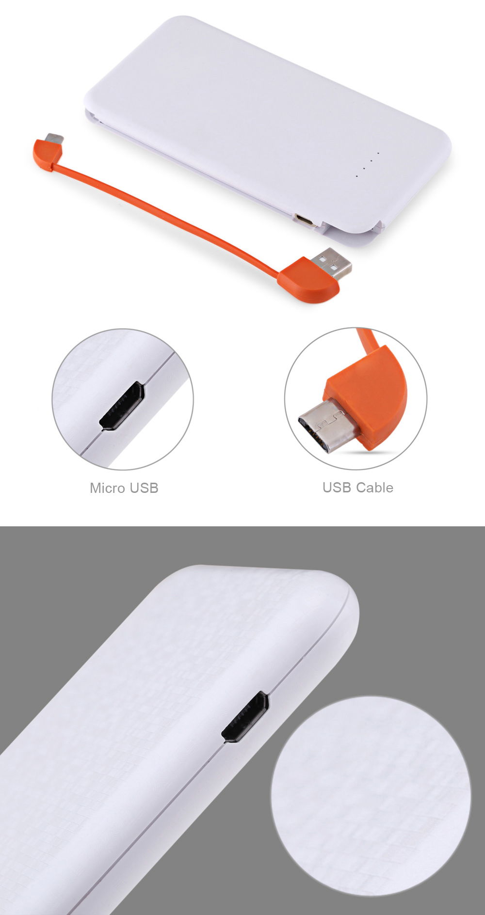 Ultra Slim 4000mAh Power Bank External Battery Built-in Micro USB Cable