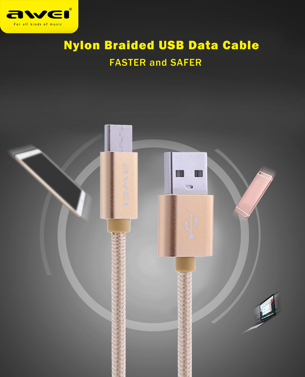 Awei CL - 960 1M USB 3.0 Type-C Nylon Braided Charging Data Cable