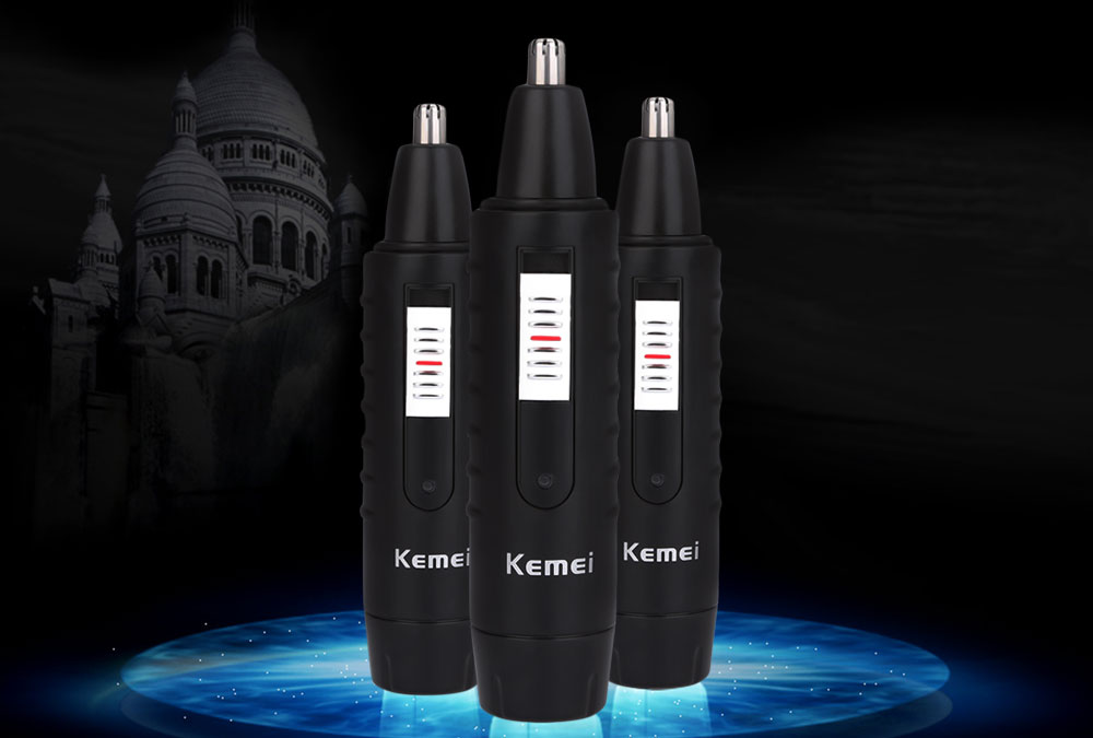 Kemei KM - 9688 Rechargeable Electric Nose Trimmer Cleaner with Sideburns Cutter- Black EU Plug