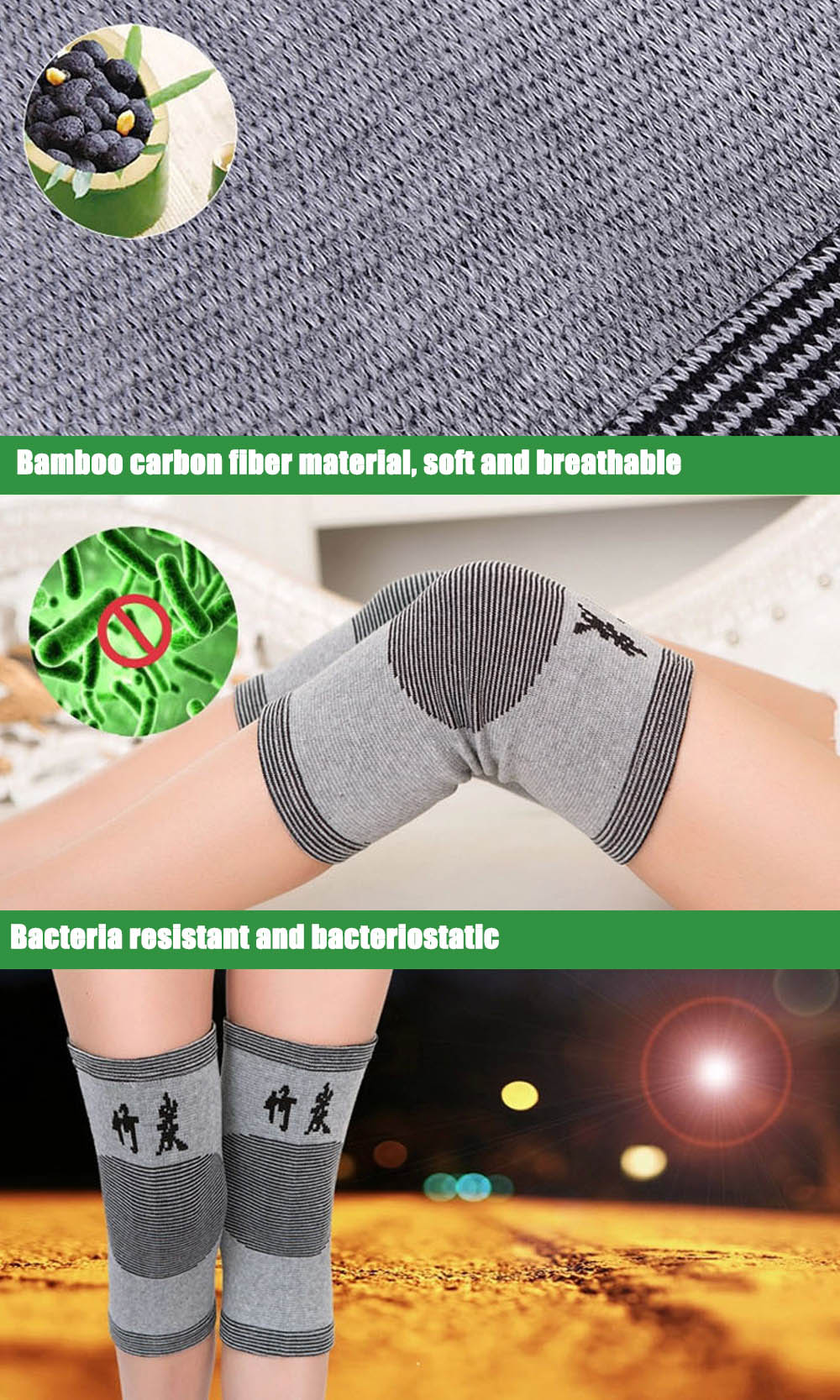 Paired Elastic Breathable Knee Pad Prevent Arthritis Bamboo Carbon Fiber Protector