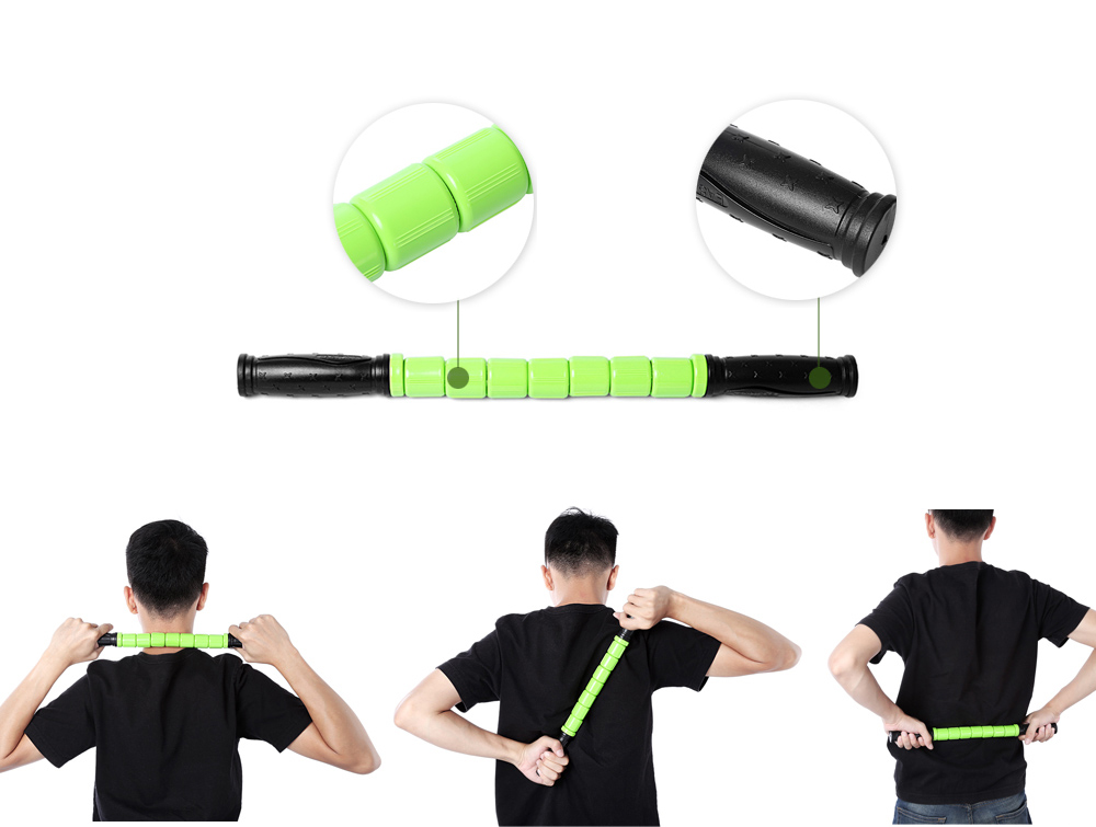 Body Muscle Massage Stick Yoga Exercise Pain Relief Equipment- Green