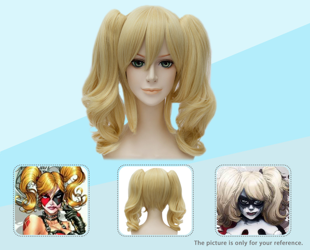 Medium Wavy Yellow Cosplay Wigs with Bangs 2 Ponytails Heat Resistant Synthetic Hair