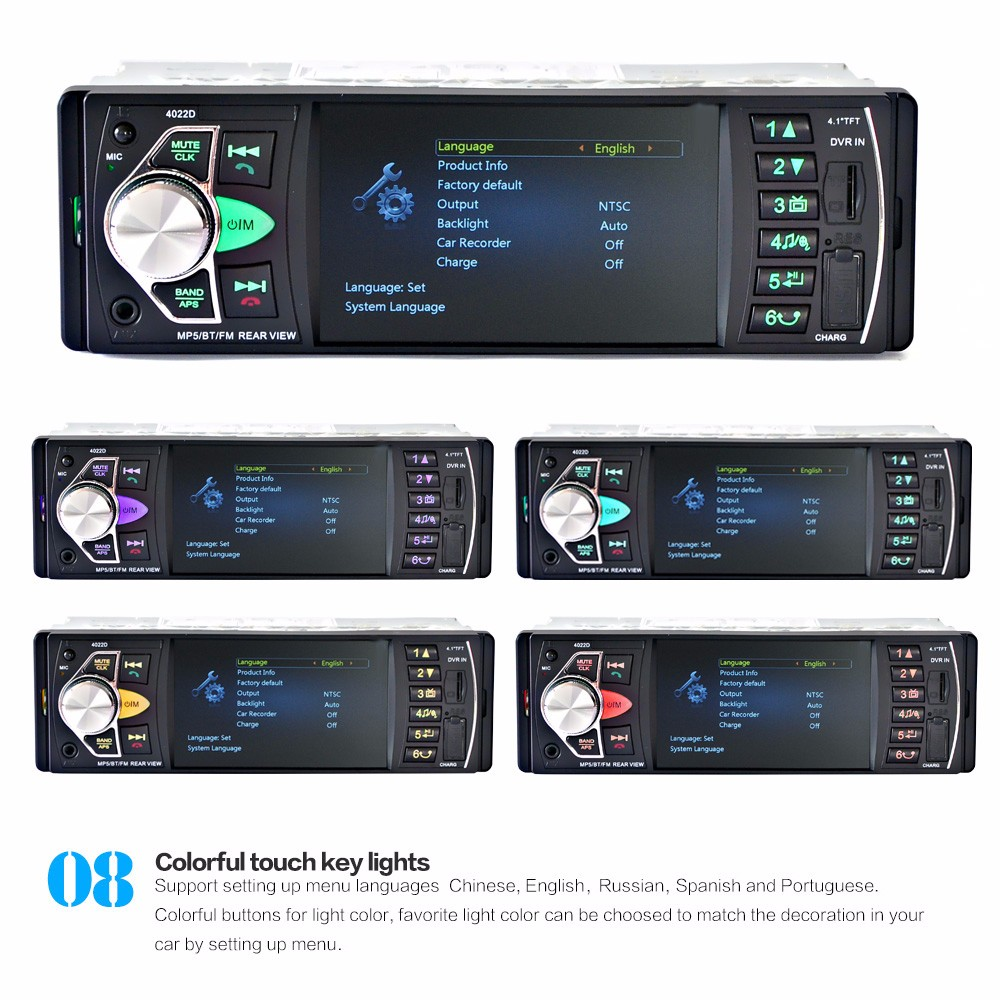 4022D 4.1 Inch Car MP5 Player Stereo Audio Bluetooth TFT Screen FM Station Video with Remote Control Camera- Black with camera