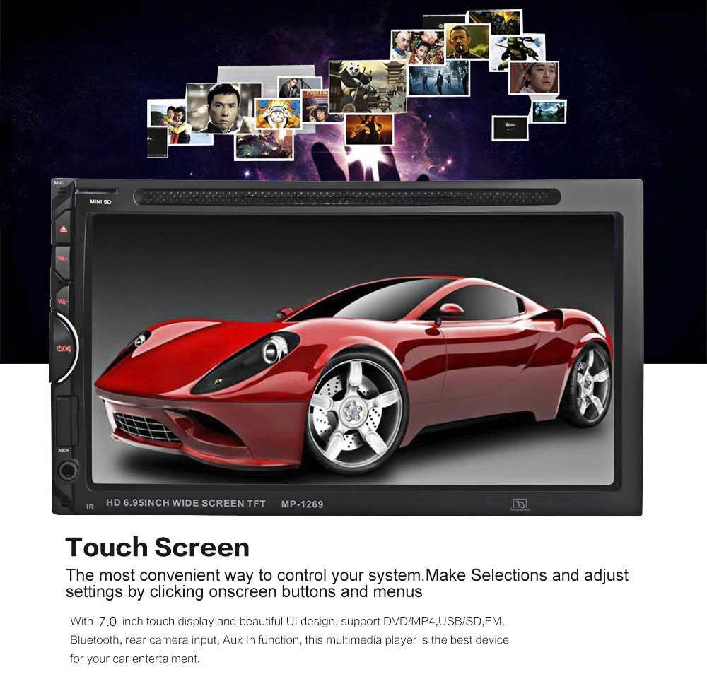 1269 7 inch bluetooth v3 0 auto radio double din 32gb car dvd player in