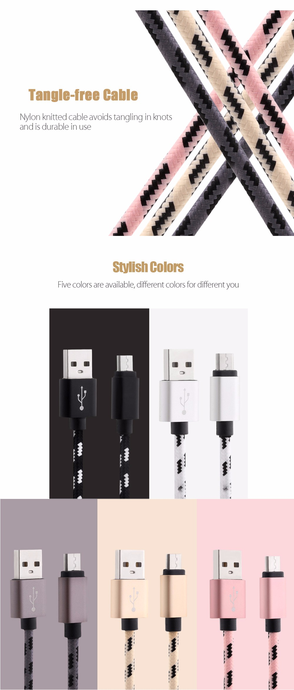 1M Micro USB 2A Charging Cable for Android