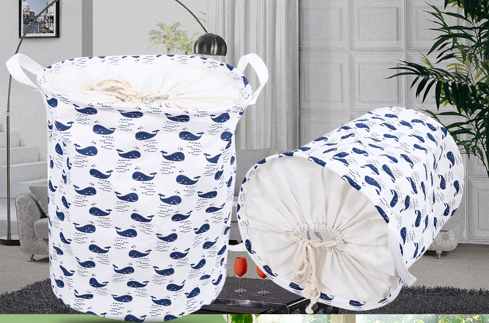 Cute Cartoon Pattern Cotton Linen Laundry Storage Basket Toy Box